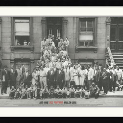 Amanti Art - Jazz Portrait- Harlem, 1958 Framed Print by Art Kane - In 1958 freelance photographer Art Kane took this group picture of 57 notable jazz musicians on a street in Harlem. To this day the photo has remained an important object in the study of jazz history.