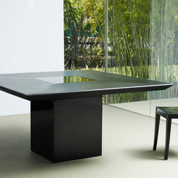 MODLOFT - Fitzroy Dining Table - Fitzroy square dining table features veneer table top with lacquer center and wood legs.