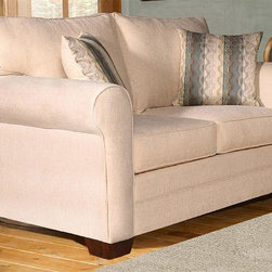 Chelsea Home - Vicki Upholstered Loveseat - Includes toss pillows. Contemporary style. Sofa with sagittarrious pearl cover. Pillows with wow spa cover. 100 % poly fabric. Solid kiln dried hardwoods frame. Reinforced stress points with blocks to secure a long lasting frame. Medium seating comfort. Reinforced 16-gauge border wired sinuous springing system to maintain a uniform seating. Double springs used on the ends nearest the arms to give balance in the seating. Cushion made from hi-density foam cores with zippers. Made in USA. No assembly required. 62 in. L x 36 in. W x 39 in. H (115 lbs.)