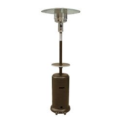 "AZ Patio Heaters - 87"" Patio Heater with Matching Table - Bronze Hammered - Patio heaters offer a great heat source for outdoor environments including patios, bistros and other outdoor seating areas. Patio heaters are ideal for bars and restaurants, offering a comfortable outdoor area even in cold seasons. Hooded tops protect heaters from rain, snow and other hazardous weather conditions. Outdoor heater is made using durable steel with hammered gold powder coat finish. Patio heater uses 5,000-13,000 watts with up to 41,000 BTUs heat and a heat range up to 15. Includes a height adjustable table for convenient outdoor use for bars, bistros and other outdoor restaurant areas. Outdoor propane patio heater includes regulator and safety anti-tilt switch. Flame screen measures 10-4/5"" diameter x 9.1""H. Propane patio heater has 31.9"" diameter reflector. Burner measures 10.9"" diameter x 23-3/5""H. Base measures 18.1"" diameter x 3.38""H. Base includes wheels for easy mobility. Patio heater includes plastic PVC burner cover for protection and safety when not in use. Tank housing measures 14.9"" diameter x 30.7""H. Accepts 20 lb. propane tank (not included). Main pole is 2-1/5"" diameter x 33-1/2""H. Portable patio heater is 87H and requires 24-36 ceiling clearance."