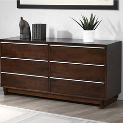 None - Kaminski Wenge Finish 6-drawer Dresser - Add a stylish touch to your bedroom furniture with this Kaminski dresser. This dresser is made of rubberwood and metal with a rich wenge finish.
