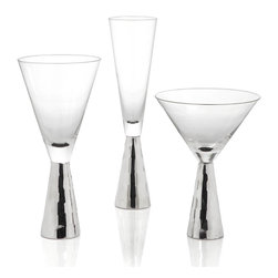 Midas Stemware - Sets of 4 - Silver - Chic and stately, our Midas Stemware has just enough glamour to infuse style and attitude into any setting.  Crafted out of glass with a base detail of applied silver hued plating, each piece in the collection calls attention onto itself.  Use to set the tone for a festive fete, or for an extra dose of glimmer into your everyday repertoire. Sold separately in sets of 4.