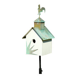 Heartwood - Sleepy Hollow Bird House Hen House - This  beautiful  birdhouse  is  the  perfect  addition  to  any  home  or  garden  of  your  choice.  A  copper  roof  with  your  choice  of  verdigris  critter  and  coordinating  front  adornment  are  the  perfect  pieces  to  accent  this  home.  It  is  sure  to  please  all  family,  guests  and  visitors.  This  bird  house  is  one  you  are  sure  to  enjoy  in  the  years  to  come.  Available  in  different  designs.                  8x9x19              1-1/2  hole              Available  designs  include  loose  moose,  big  dog,  horse,  pig,  angel,  rooster  and  bear              Handcrafted  in  USA  from  renewable,  FSC  certified  wood