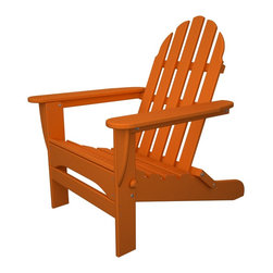 Folding Adirondack Tangerine Outdoor Recycled Plastic Furniture - Folding Adirondack chair, perfect for camping concerts, and days at the park!
