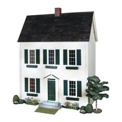 Real Good Toys QuickBuild Classic Colonial Dollhouse Kit - 1 Inch Scale - Pay tribute to your heritage with the Real Good Toys QuickBuild Classic Colonial Dollhouse Kit - 1-Inch Scale. This classic design with seven spacious rooms offers countless possibilities for the imagination; each boasts old-fashioned wallpaper to enhance the traditional look of this white house with green trim.Crafted from durable 0.375-inch MDF, this 3-story dollhouse features exterior walls with a smooth, painted clapboard finish, stained and varnished wooden floors, stained wooden roof shingles, window boxes, and non-working windows with interior trim and wooden mullions for authentic Colonial appeal. It boasts a 9-inch floor to ceiling height. Add the final touches with your imagination.Recommended supplies include glue, masking tape, and a screwdriver. Please note that any furnishings or landscaping are not included. This exquisite kit is suitable for use by collectors. As it includes small pieces, it's not recommended for children under the age of 3. About Real Good ToysBased in Barre, Vt., Real Good Toys has been handcrafting miniature homes since 1973. By designing and engineering the world's best and easiest to assemble miniature homes, Real Good Toys makes dreams come true. Their commitment to exceptional detail, the highest level of quality, and ease of assembly make them one of the most recommended names in dollhouses. Real Good dollhouses make priceless gifts to pass on to your children and your children's children for years to come.