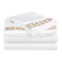 Kendell Queen Sheet Set, Cotton, White/Taupe - Each Kendell Sheet set comes with a special Greek-style embroidery.