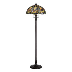 Quoizel - Quoizel Imperial Bronze Lamps - SKU: TFBL9360IB - The forest and lush greens used on this organic motif enhances the intricate leaf pattern used on the shade and base. Belle is a perfect blend of natural elegance and traditional appeal. The shade contains 632 art glass pieces that are hand-assembled using the copper-foil technique developed by Louis Comfort Tiffany. The beautiful imperial bronze base is captivating with its delicate and open style. It is sure to enhance any rooms` decor.