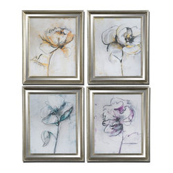 Uttermost - Uttermost Jesters Floral Art Set of 4 41364 - These prints are accented by silver leaf frames with a light black glaze and mirrored accents. Prints are under glass.