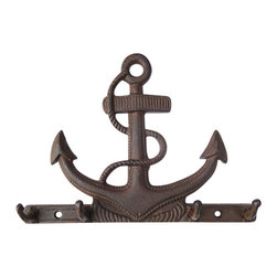 "Rust Cast Iron Anchor Hook - The cast iron anchor hook measures 10.25"" x 7.5"" x 1.5"". It is rust in color. This item has four hooks. It makes a great gift  works well in many decor environments."