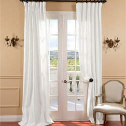 White Belgium Linen Curtain Panel - Simple and fresh white linen drapes were used in the new design in the living room.