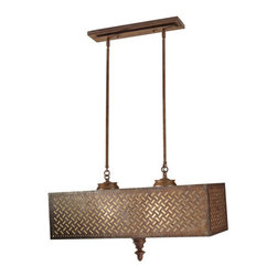 Murray Feiss - Murray Feiss F2904/4 Kandira 4 Light Island / Billiard Fixture - Inspired by the beautiful hand woven rugs of the Middle East, the Kandira lighting collection is named after the Turkish city. Its ancient screen-like pattern is laser cut into the Moroccan Bronze finished steel panels of each light fixture, complemented with an oversized, turned spindle as a bottom finial to complete the look.Features: