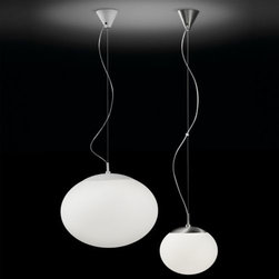 Bover - Elipse Pendant by Bover - Pure radiance. The Bover Elipse Pendant features a pristinely White UV-protected polyethylene shade, ensuring bright light that will not become discolored. Classic and simple on its own, Elipse's glowing globe creates a constellation effect when hung in multiples. The Bover collection, made in Barcelona, is inspired by the light playing within the sky and sea. Balancing quality and form resulting in a non-temporal style capable of adapting comfortably to future times. Bover's products range from ceiling lights, pendants, and wall sconces to floor and table lamps.