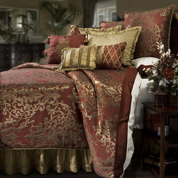 Veratex - Veratex Glenaire 4-piece Queen-size Comforter Set - The unique reversible comforter features a woven medallion motif on one side and a quilted matte satin design on the other. The shams also feature an intricate woven medallion while the bedskirt features a braided trim and comes in a solid gold color.