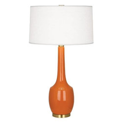 Robert Abbey - Robert Abbey PM701 Delilah 1 Light Table Lamp in Pumpkin with Oyster Linen Shade - Delilah 1 Light Table Lamp in Pumpkin with Oyster Linen Shade.Base: Antique Brass Bulb Type: Incandescent Collection: Delilah Finish: Pumpkin Height: 34-5 16 Number of Lights: 1 Origin: Usa Shade: Oyster Linen Switch Type: Hi-Lo Dimming Wattage: 150W Max