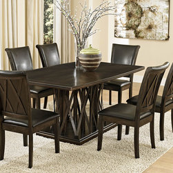 Homelegance - Homelegance Garvey 7 Piece Pedestal Dining Room Set w/ Dark Brown Chairs - Beautiful from every angle  the ebony finished Garvey Collection is a unique addition to your contemporary or transitional casual dining room. The boldly designed base of the table features interwoven wood slats creating a birdcage effect. The radiating walnut veneer pattern of the tabletop creates another design layer that takes the style to the next level. With two chair options  the collection becomes exactly what you envision. White or dark brown bi-cast vinyl seating and backs are accented with the base's X-design rounding out the look.