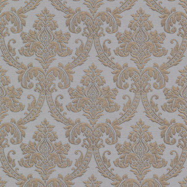 Bradford - Bradford (Kt) Fabric Damask Wallpaper - This magnificent damask wallpaper creates a look like your walls are adorned in a luxurious fabric. Sophisticated pearl grey, with a shimmering brass patina and raised blowing ink effects. Each wallpaper bolt is 20.5 inches wide and 33 feet long, covering about 56 square feet. The pattern has a 12.5 inch repeat and a Straight match.