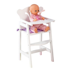 """KidKraft - Kidkraft Kids Children Home Indoor Pretend Play Toy Lil' Doll High Chair - KidKraft's Lil Doll High Chair has a crisp white lacquer finish with scalloped edges, and filigree cut out detail. Plus, with a pink and white rattle bar, foot rest, and a reversible mint/lavender pad, the high chair comfortably seats a 19"""" doll for breakfast, lunch or dinner. Because kid-safety is a priority, rubber stops between the tray table and chair protect little fingers from getting caught. Dimension: 12""""x 12""""x 22.25"""""""