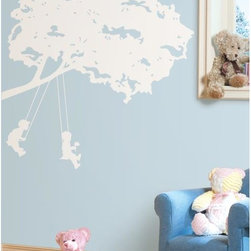 Roommates Decor - Kids on Swing White Giant Peel & Stick Wall Decals - Celebrate the simple joys of childhood with this beautiful white silhouette of children on tree swings. This design is a wonderful pick for nurseries, and will look right at home on by a crib or bed. Application is a breeze: simply peel each pre-cut piece from the liner and apply it to the wall. Repeat until each piece has been applied. If you need to adjust the design, there are no problems: you can remove each element and re-apply it over and over again until you have the perfect tree on your wall. There's no easier way to add art to your walls than wall decals!
