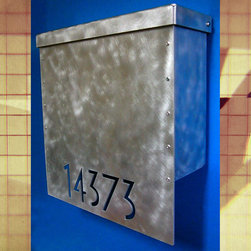 Modern Mailbox - Custom House Number Mailbox No. 1310 Drop Front in Aluminum