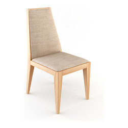 Viesso - Wiam Dining Chair - Armless Short - The tall back is back. This progressive dining chair makes a bold statement in your dining room. The tall back comes in two heights, each providing elegant angles and a large canvas for the fabric you choose to be displayed prominently. Add some bold style to your space with this modern dining chair. Please note the back of this chair has fabric showing on the whole surface like the front.