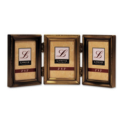 Lawrence Frames - Antique Gold Brass Hinged Triple 2x3 Picture Frame - Beaded Edge Design - Gorgeous antique brushed brass finish with delicate beading around the outside edge.  This frame is constructed with heavy gauge steel and is made with quality in mind.  Frame is fitted with beautiful black velvet backing, and is individually boxed.