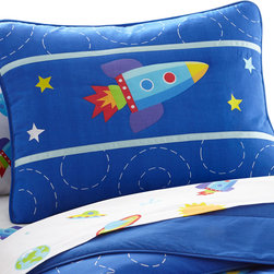 Wildkin - Olive Kids Out of this World Sham - This pillow sham perfectly coordinates with all our Out of this World bedding. It features a rocket ship and has embroidered details.