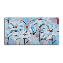 Corral of newspaper daisies Hand Painted Canvas Art - These hand-painted whimsical daisies look like they have petals of newspaper, making this the perfect painting for fans of both flowers and print media. Painted in acrylic on canvas and stretched over a one-inch thick wooden frame, you can hang this painting right out of the box.
