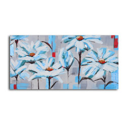 """Corral of Newspaper Daisies"" Hand-Painted Canvas Art"