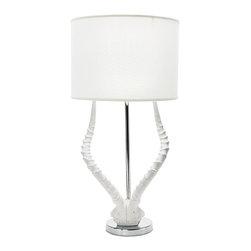 Lazy Susan - Lazy Susan White Faux Horn Lamp With White Shade - Lazy Susan WHITE FAUX HORN LAMP WITH WHITE SHADE 225091