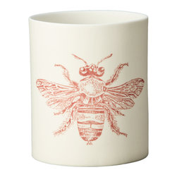Kouboo - Bee Porcelain Votive Candle Holder, Print in Brown - These votive candle holders are simple yet instantly noticeable, cute decor elements of your outdoor dinner table, your coffee table or even your bathroom sink. Light the tea light inside the votive and the details of the delicately designed dragonfly will contrast against the glowing porcelain. 1 year limited warrantyArtisan made from porcelain with no glazeSilk screen applied by handHolds one tea lightWeighs 0.25 lb