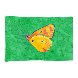 Caroline's Treasures - Butterfly Orange on Green Fabric Standard Pillowcase Moisture Wicking Material - Standard White on back with artwork on the front of the pillowcase, 20.5 in w x 30 in. Nice jersy knit Moisture wicking material that wicks the moisture away from the head like a sports fabric (similar to Nike or Under Armour), breathable performance fabric makes for a nice sleeping experience and shows quality. Wash cold and dry medium. Fabric even gets softer as you wash it. No ironing required.