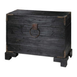Uttermost - Uttermost 24305  Carino Wooden Trunk Table - Black satin, solid fir wood with natural knots and deep grains with copper brown metal accents. non-latching top with safety hinges. generous storage inside.