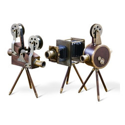 Interlude - Interlude Watsons Projectors - Set of 3 - Antique reproductions of vintage movie cameras made from wood and antique brass.  Take 2!