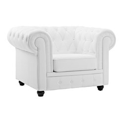 MODERN WHITE LEATHER CLUB CHAIR CHESTER