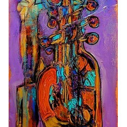 """Dreams Of Jazz"" (Original) by Lisa P. Young - This colorful  abstract piece focuses on the design elements of line and color in a jazz like dream interpretation. The sides are finished in a flat black trim so that framing is  optional."