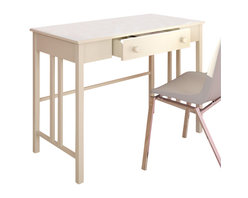 Sonax - Sonax Corliving Plateau Workspace Desk with Drawer in Frost White - Sonax - Kid Desks - D012LPL - Instantly have a place for work with this practical desk from the Plateau Collection. The transitional wood design assembles in minutes creating a great surface for your computer tablets or notebooks. The durable white painted finish will fit into any decor setting with ease. Crafted with special attention to detail this desk is small enough to easily tuck out of the way but large enough for nights of studying and paperwork. Bring home this comfortable desk made by CorLiving.