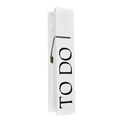 Lightaccents - Home Office Collection Jumbo Decorative Wooden Message Clip, 'To Do,' White - Extra oversized decorative clothes pins are a stylized way to clip up your most important messages, to do lists and photos. Large and vintage, these clips are charming and very functional.