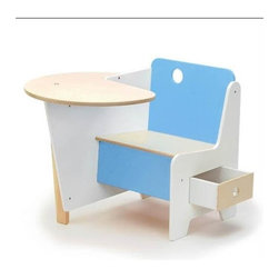 Offi - Offi Kid's Mini Doodle Desk w Drawer in White & Blue Finish (Set of 2) - Designed by Roberto Gil from Casa Kids Collection Design Inc. - Brooklyn, NY. Made from baltic birch plywood and non-toxic painted mdf. 25 in. L x 22 in. W x 21 in. H. Seat Height: 11 in.. Assembly InstructionA kid sized seated desk with easy pull-out drawer under the seat and a wraparound surface for doodling and munching. Recommended for children 3 and up, and should be assembled by an adult.