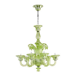 Lascala Green Chandelier - Spring green is an attention-getting color, for sure. But add it to a chandelier, and you have a showstopper. Here's to hoping I can use this in a project soon!