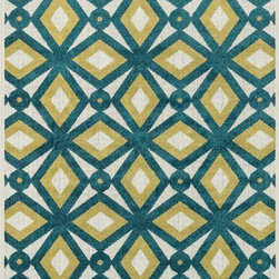 """Loloi Rugs - Loloi Rugs Oasis Collection - Peacock / Citron, 5'-2"""" x 7'-5"""" - Boldly designed and brightly colored, our Oasis Collection transforms any outdoor space into a modern patio paradise. This collection is power loomed in Egypt, ensuring precision in color and design for each and every piece. And because the 100% polypropylene yarns are specially tested to withstand UV rays and rain, it's the perfect all-weather rug."""