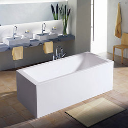 Aquatica Purescape Acrylic Freestanding Acrylic Bathtub - Although this is a freestanding bath, it would work well for more of a built-in look. Or you can achieve the same look with an undermount bath and a white Caeserstone surround.