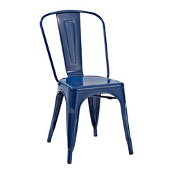 Crosley Furniture - Crosley Furniture Amelia Metal Cafe Chair in Blue - Set of 2 - Originally made famous in the quaint bistros of France, these midcentury replicas of original Cafe seating will offer a dose of nostalgia combined with careful consideration for your wallet.  This inspired revival evokes a sense of a true vintage find. (Sold in Pairs)