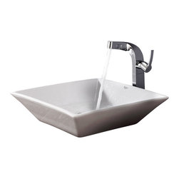 Kraus - Kraus C-KCV-125-15100CH White Square Ceramic Sink and Typhon Faucet - Add a touch of elegance to your bathroom with a ceramic sink combo from Kraus