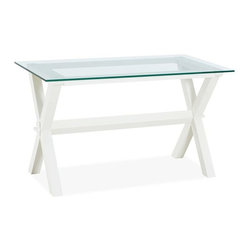 Ava Wood & Glass Desk, Antique White - A great desk can double as a console table behind a couch or sectional. I love how the glass and open legs make this a great piece for a small space.