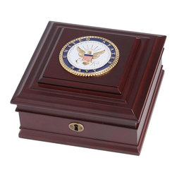 US Navy Medallion Desktop Box - 8-Inch by 8-Inch by 4-Inch Military Desktop Box