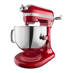 "KitchenAid - KitchenAid Pro Line Series Stand Mixer, Candy Apple Red - 1.3 HP high efficiency motor with direct drive transmission, designed to run longer, delivering optimum torque with less heat build-up. 7-quart polished stainless steel wide-mouth bowl-lift with handle. Full metal body construction, high precision metal gears and metal control knobs. 10-speed slide control ranges from a very fast whip to a very slow stir. Commercial-style motor protection. Commercial Auto-Reset. Includes Powerknead Spiral Dough Hook, burnished flat beater, dough hook, stainless steel wire whip and Pouring shield. Multipurpose Attachchment Hub with Hinged Hub CoverFlour Power: 16 Cups / 14 dozen of chocolate chip cookies. Dimensions: 16.7 H x 14.8 W x 14.8 D""5-year hassle free limited manufacturers warranty."