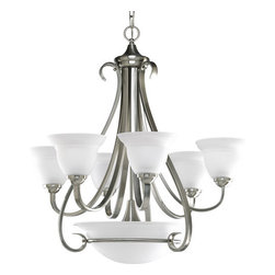 Progress Lighting - Progress Lighting P4417-09 Torino Nine-Light Single-Tier Chandelier with Etched - The Torino Collection features an American Casual styling and etched white oversize bell-shaped glass bowls. Distinctive ebbing and flowing of squared scrolls and arms completes this line.If you like this item, we have the collection to match. The full Torino collection includes: 2 distinct mini pendants, 3 foyer pendants, 6 different chandeliers, 1 close to ceiling fixture, 2 different wall sconces, and a 2 light, 3 light, and 4 light bathroom vanity.Features: