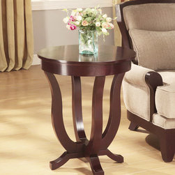 None - Clark End Table - Clark's espresso end table is made with sturdy hardwood legs and a magnificent birch veneer top. This elegant accent table with a unique leg design enhances home decor. The table has non-mar foot guides that are gentle on your floor.