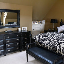 French Country Master Bedroom  Renovation - Dresser Wall with purchased and custom furnishings.