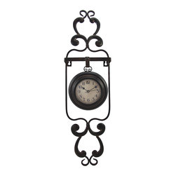 Zeckos - Decorative Metal Pocket Watch Style Wall Clock - This pocket watch style clock adds a lovely accent to any wall in your home or office. The decorative metal hanger measures 22 inches tall, 6 inches wide, 1 3/4 inches deep, and the clock measures 5 inches in diameter. The clock has black numbers and hands to mark the time, it features quartz movement, and runs on 1 AA battery (not included). The frame easily mounts to the wall with 2 nails or screws by the hangers built into it. This clock looks great in living rooms, bedrooms, kitchens, and offices, and makes a great gift.